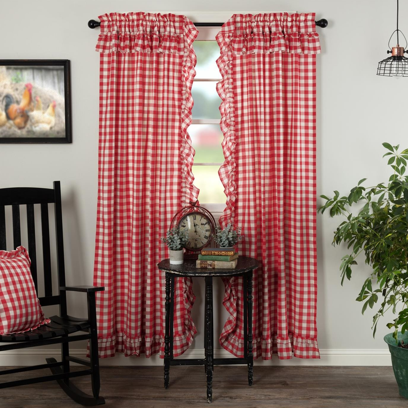 Annie Buffalo Red Check Ruffled Panel Set of 2 84x40