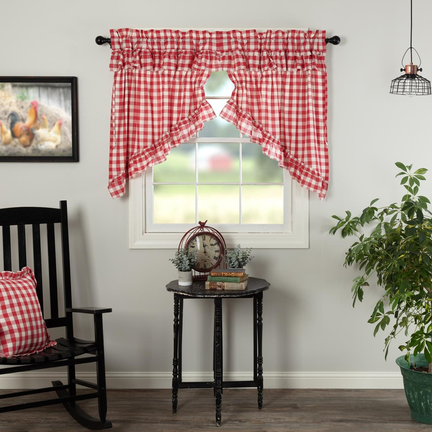 Annie Buffalo Red Check Ruffled Prairie Swag Set of 2 36x36x18