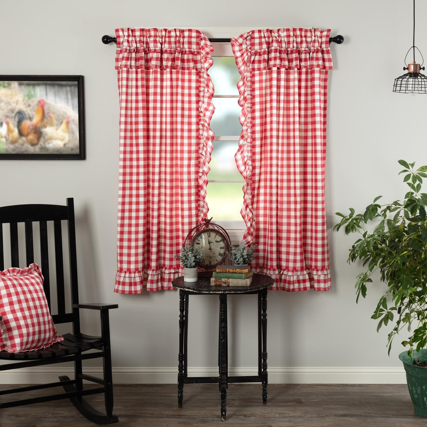Annie Buffalo Red Check Ruffled Short Panel Set of 2 63x36