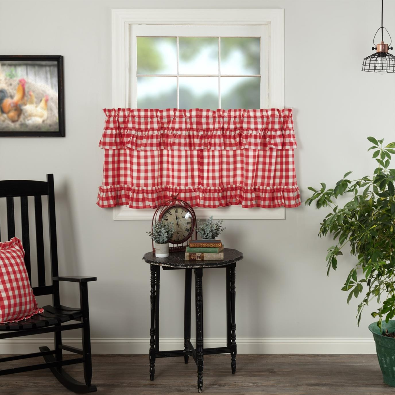 Annie Buffalo Red Check Ruffled Tier Set of 2 L24xW36