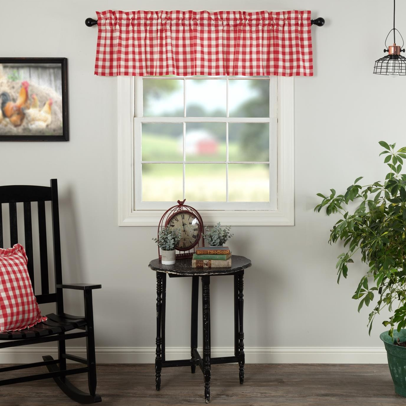 Annie Buffalo Red Check Valance 16x72