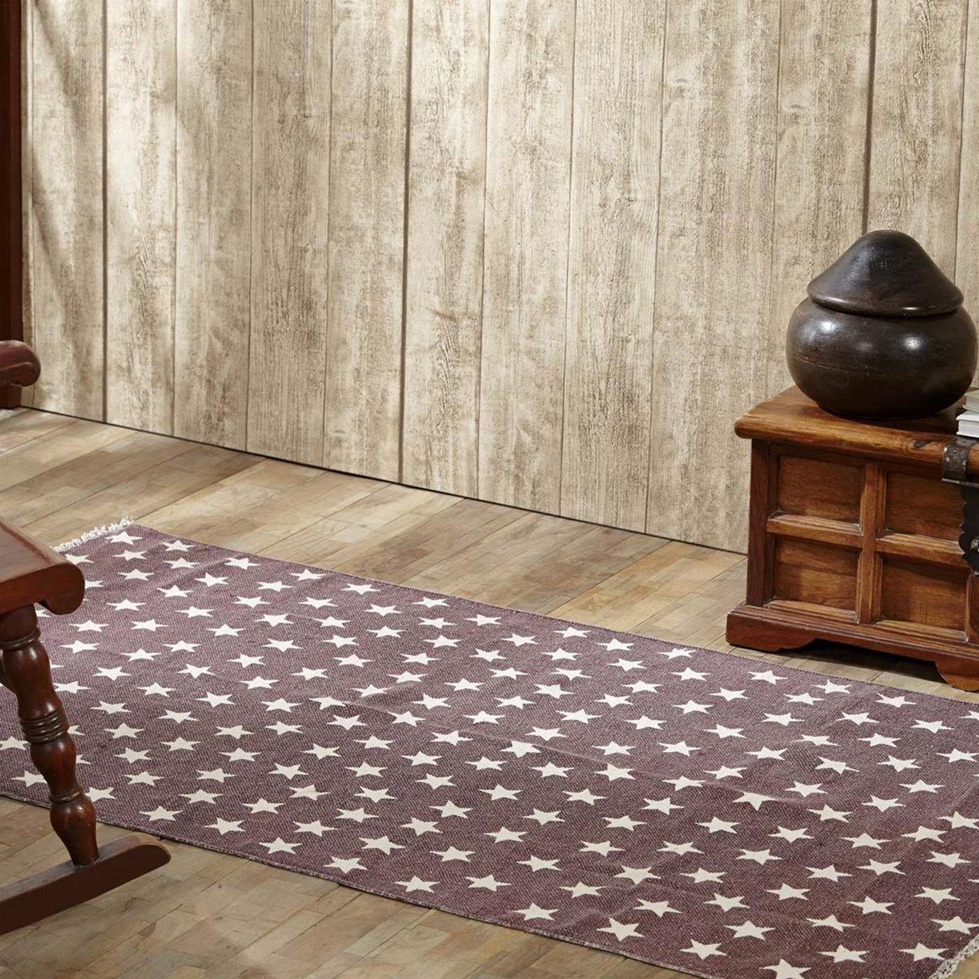 Antique Red Star Rug Rect 36x60