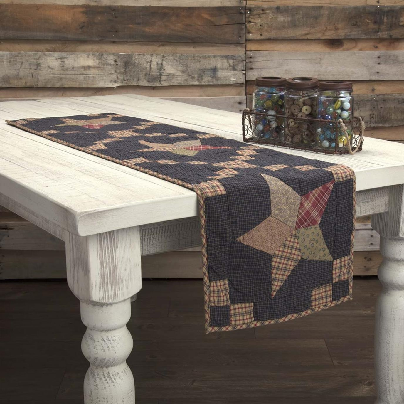 Arlington Runner Quilted Patchwork Star 13x48