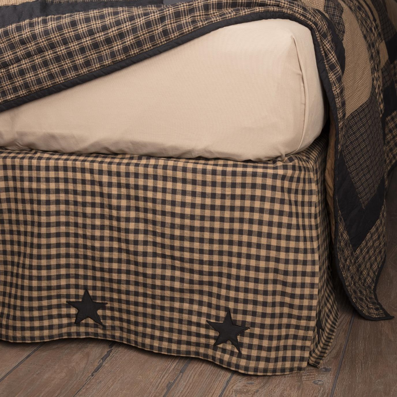 Black Check Star Queen Bed Skirt 60x80x16