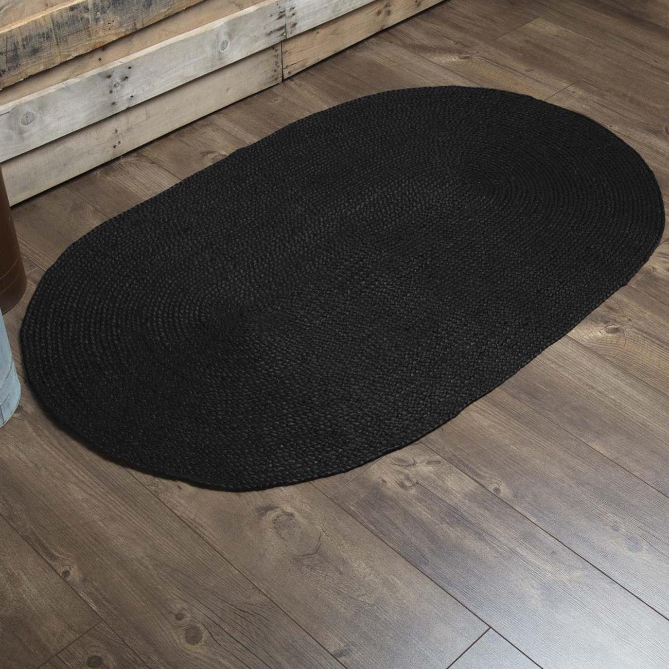 Black Jute Rug Oval 36x60