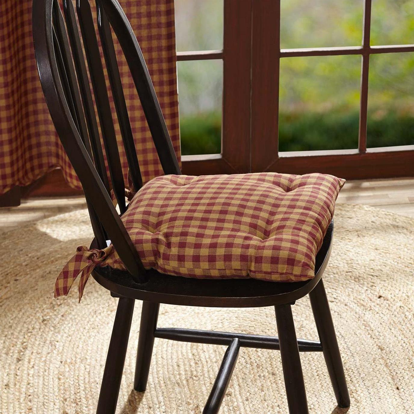 Burgundy Check Chair Pad