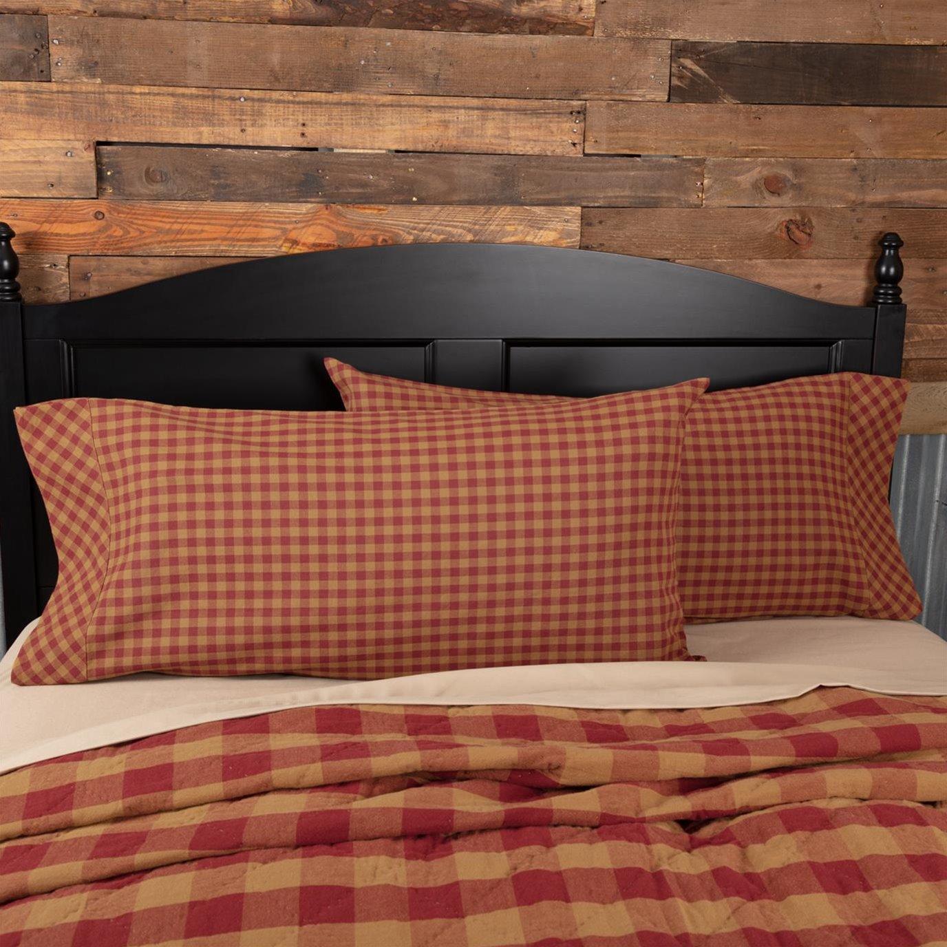 Burgundy Check King Pillow Case Set of 2 21x40