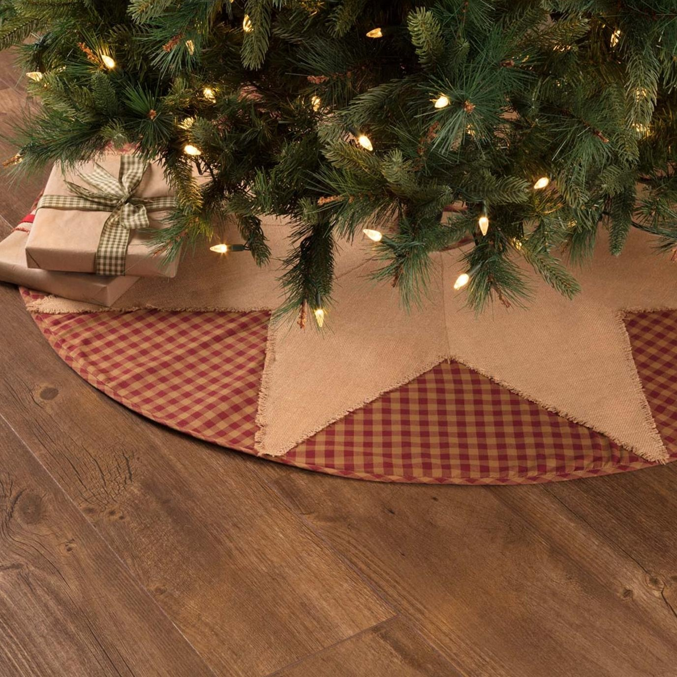 Burgundy Check Star Tree Skirt 48