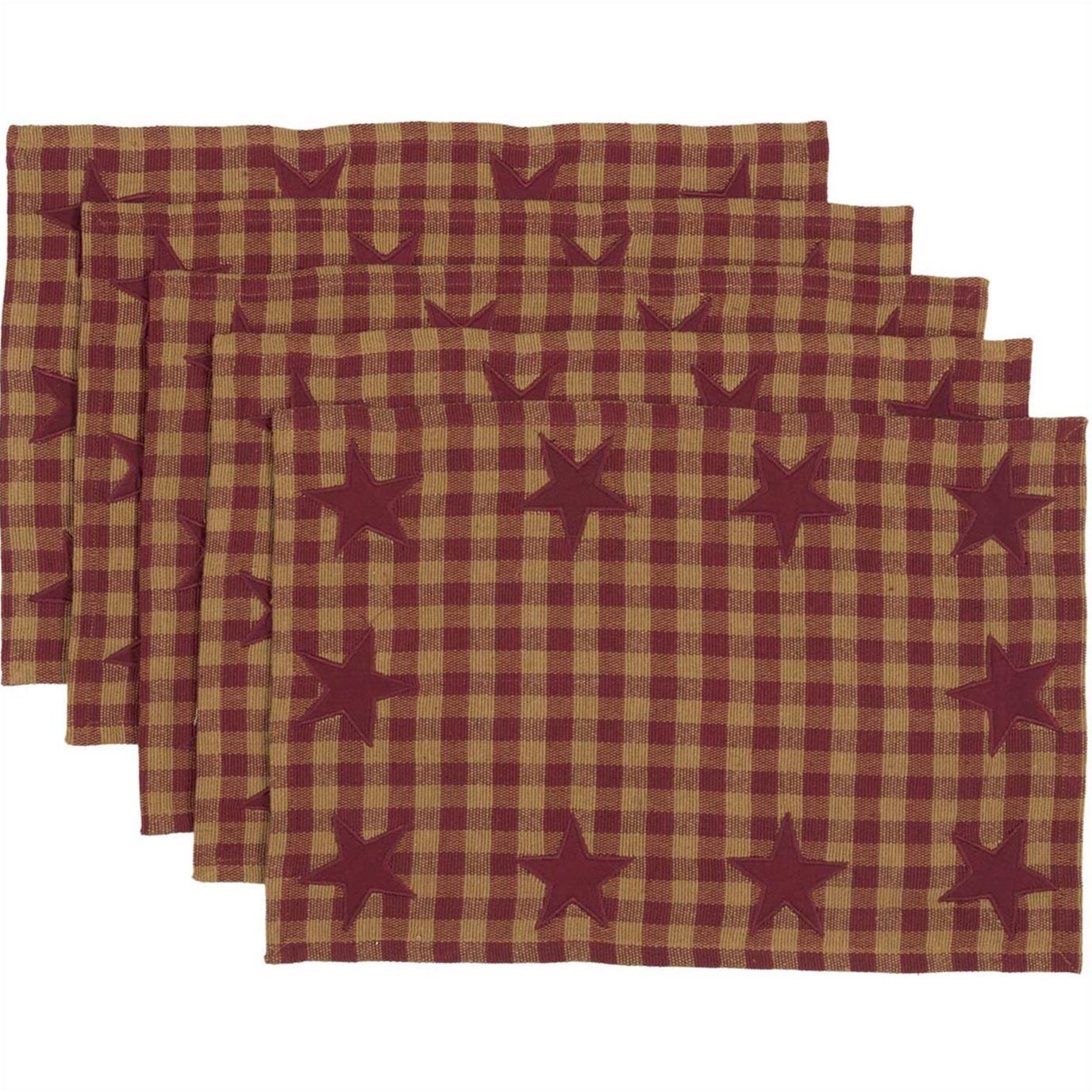 Burgundy Star Placemat Set of 6 12x18
