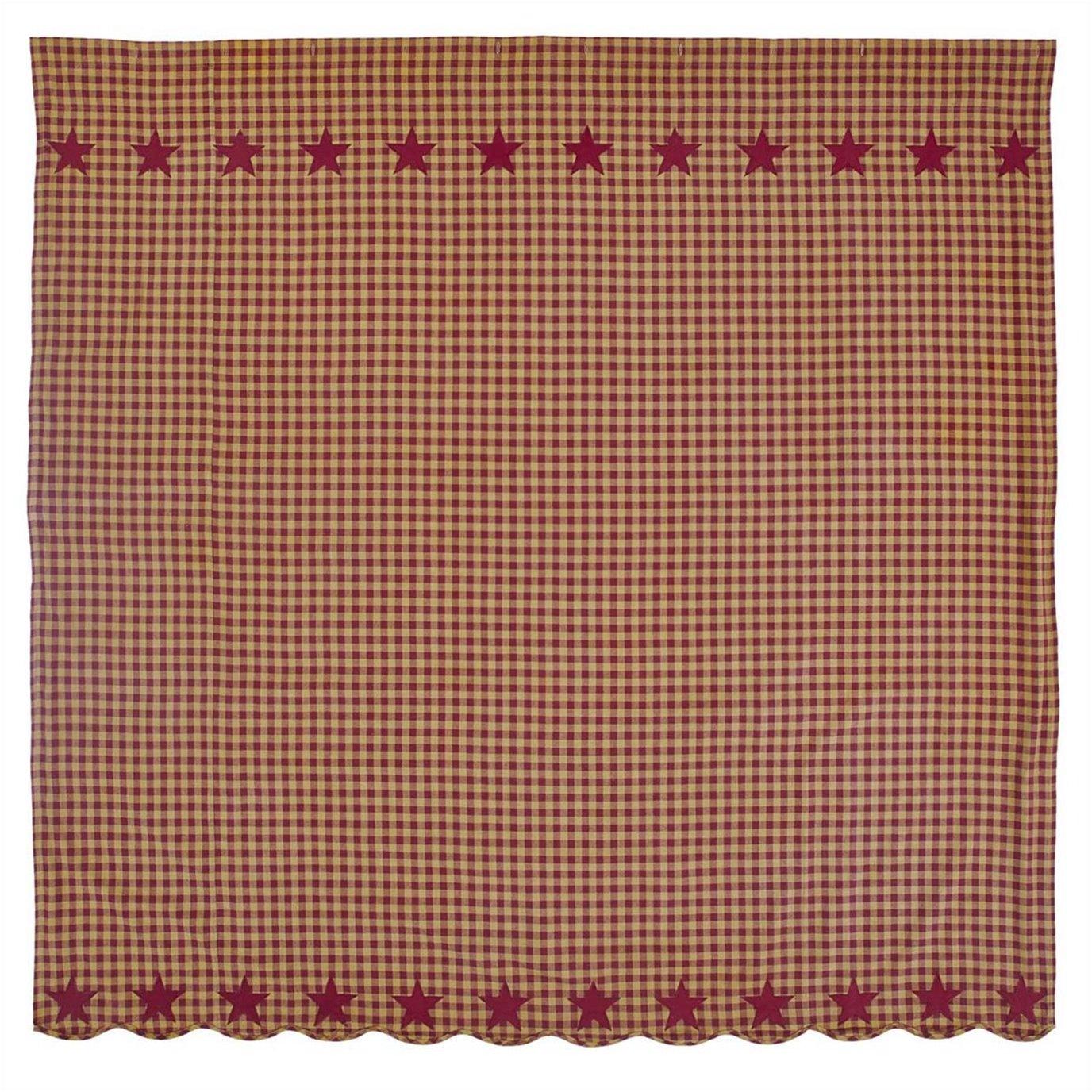 Burgundy Star Scalloped Shower Curtain 72x72