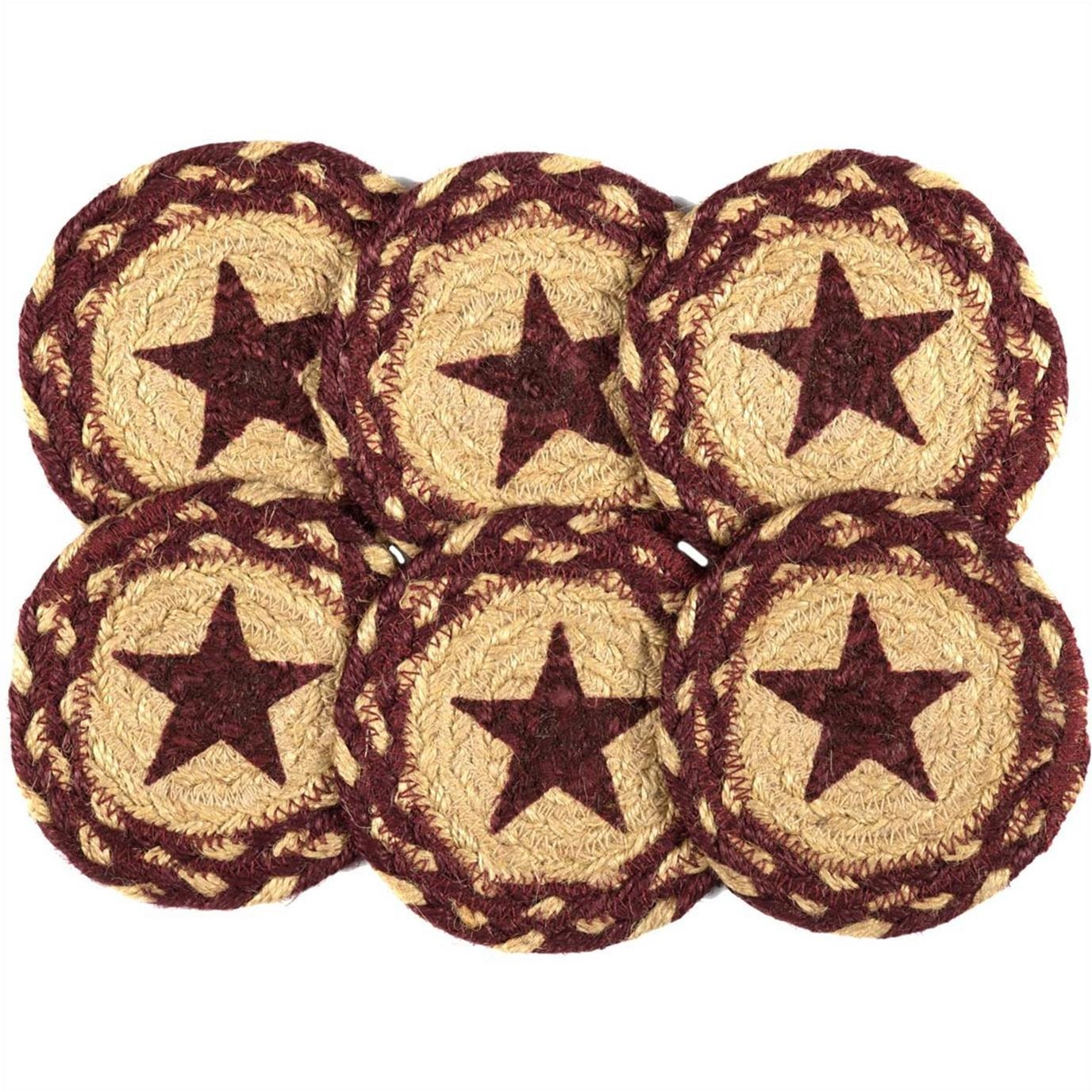 Burgundy Tan Jute Coaster Stencil Star Set of 6