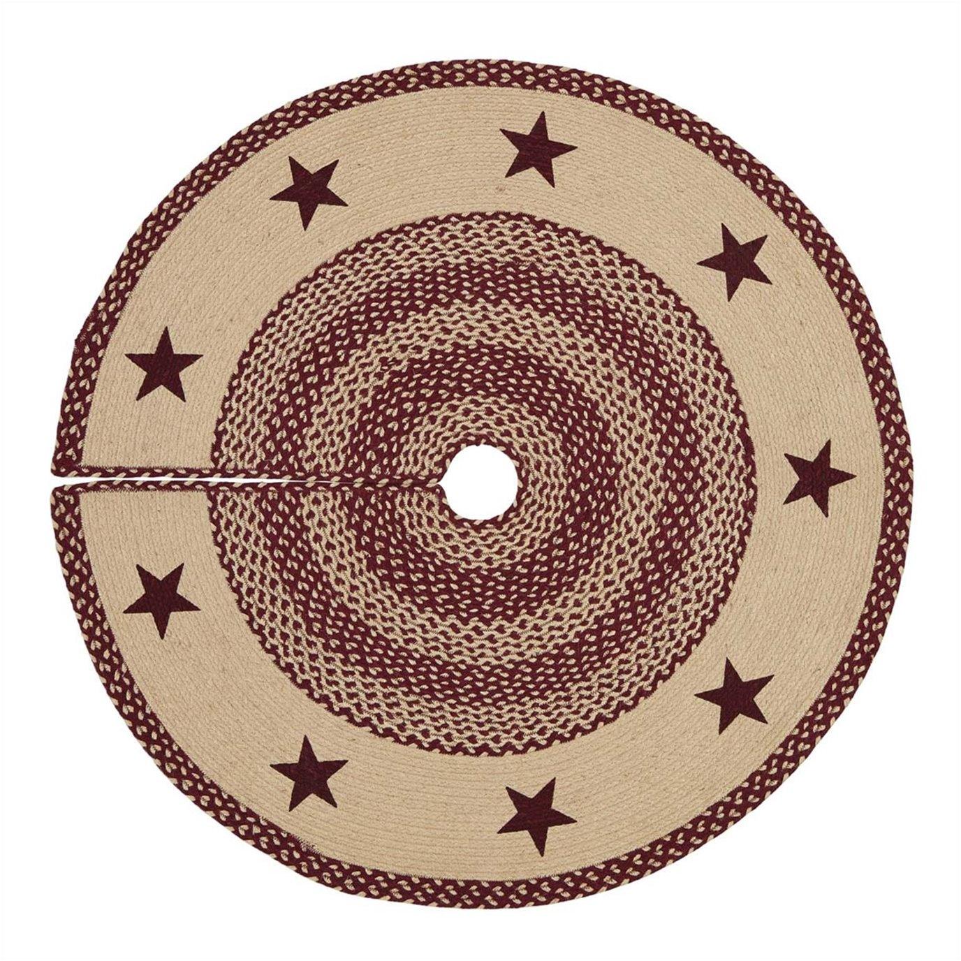 Burgundy Tan Jute Stencil Stars Tree Skirt 48