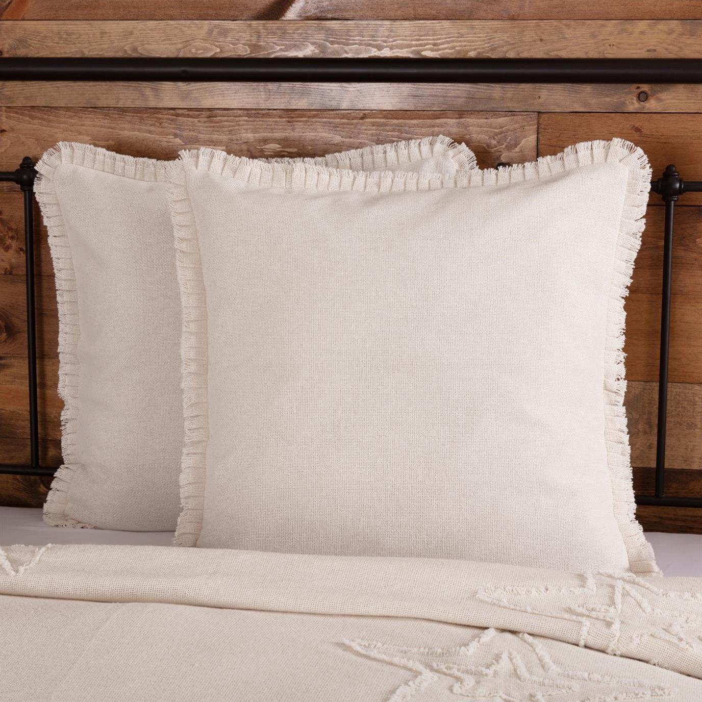 Burlap Antique White Fabric Euro Sham w/ Fringed Ruffle 26x26