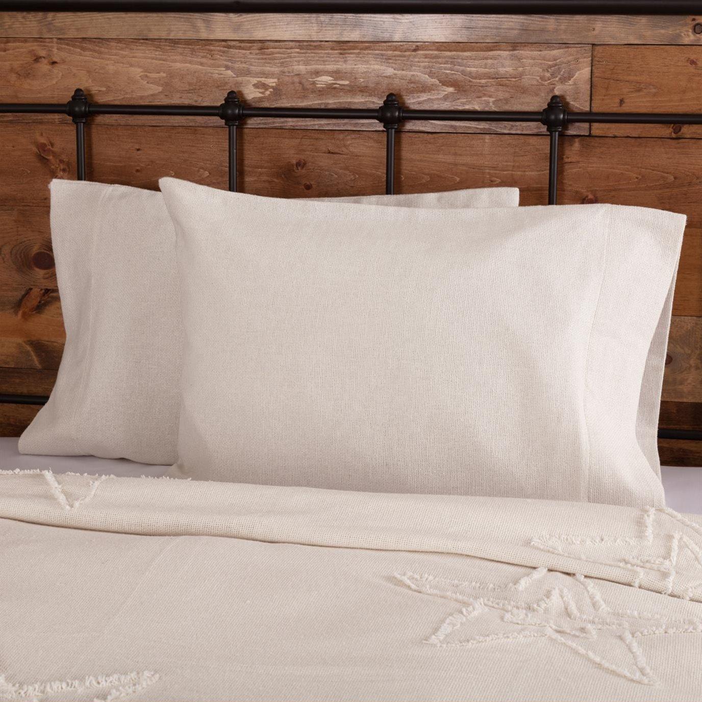 Burlap Antique White Standard Pillow Case Set of 2 21x30