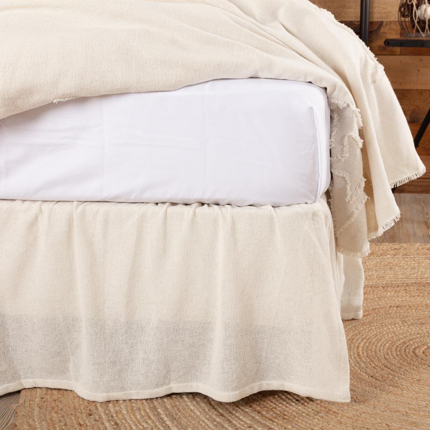Burlap Antique White Ruffled Queen Bed Skirt 60x80x16