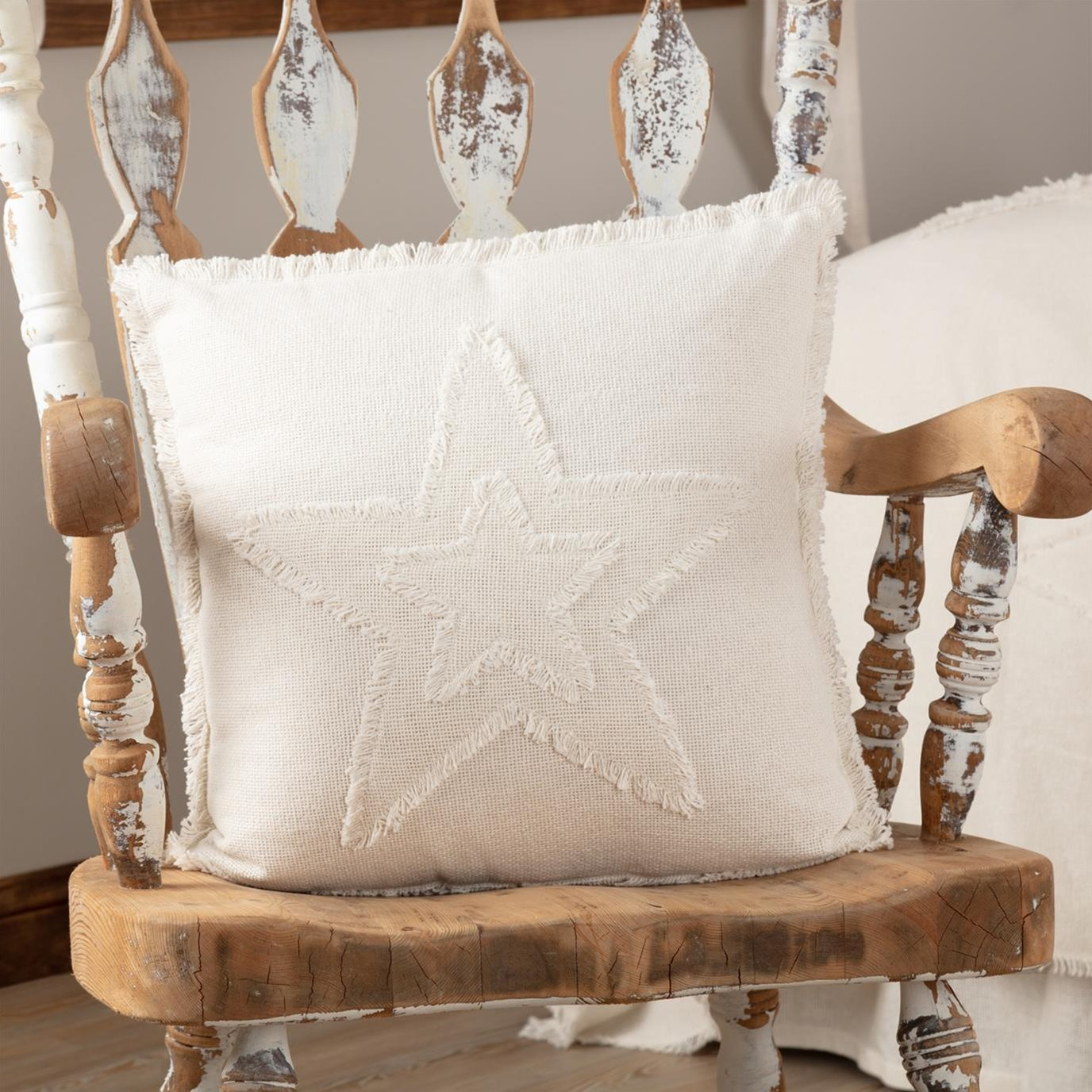 Burlap Antique White Star Pillow 18x18
