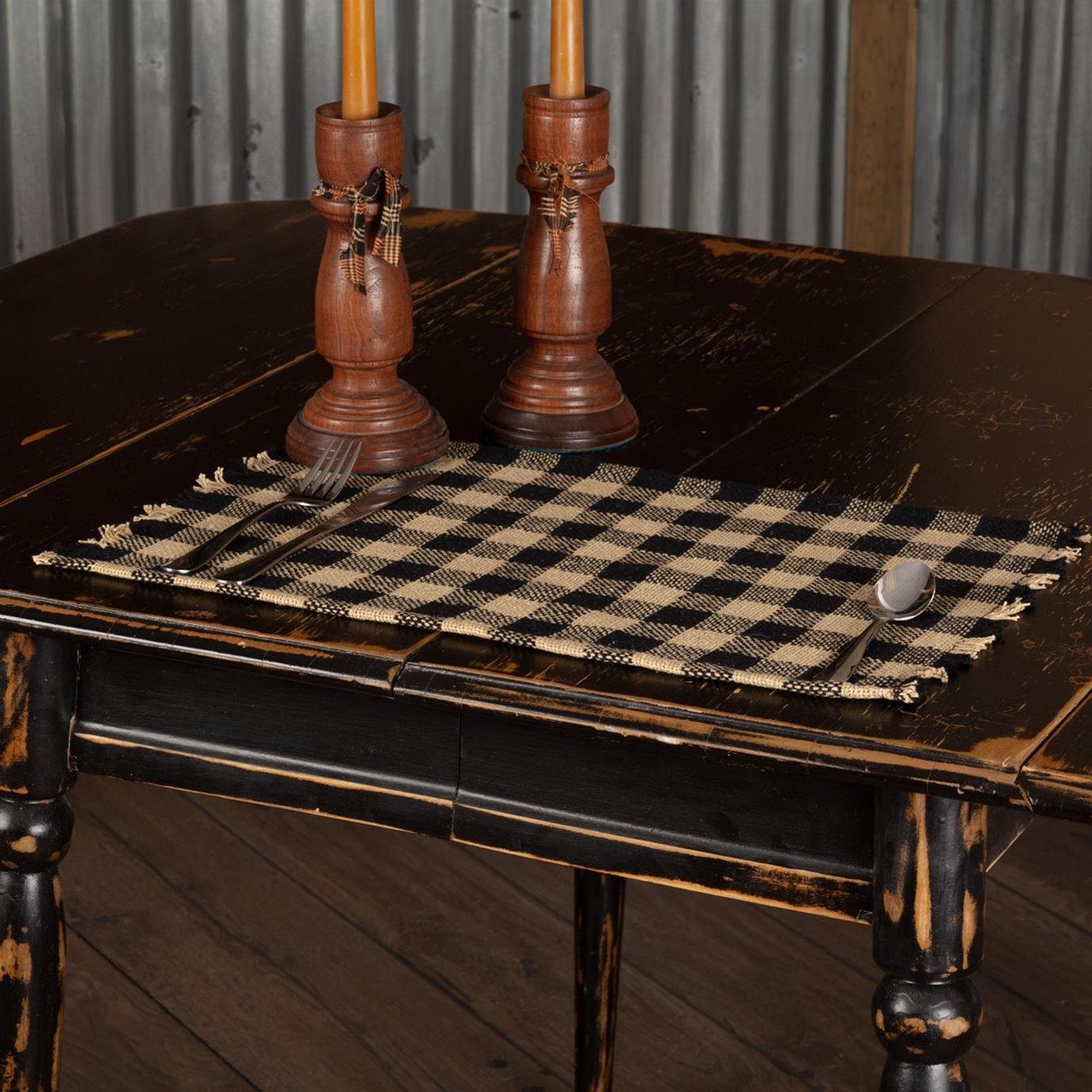 Burlap Black Check Placemat Fringed Set of 6 12x18