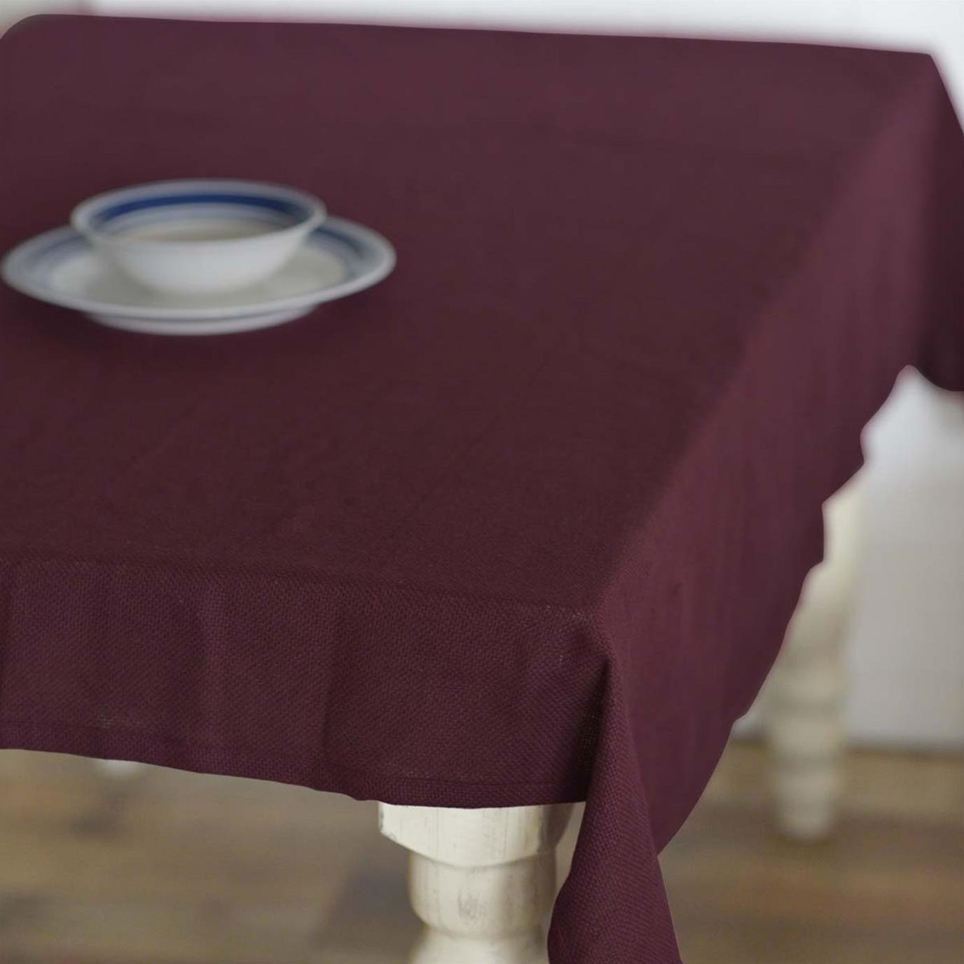 Burlap Merlot Table Cloth 60x80