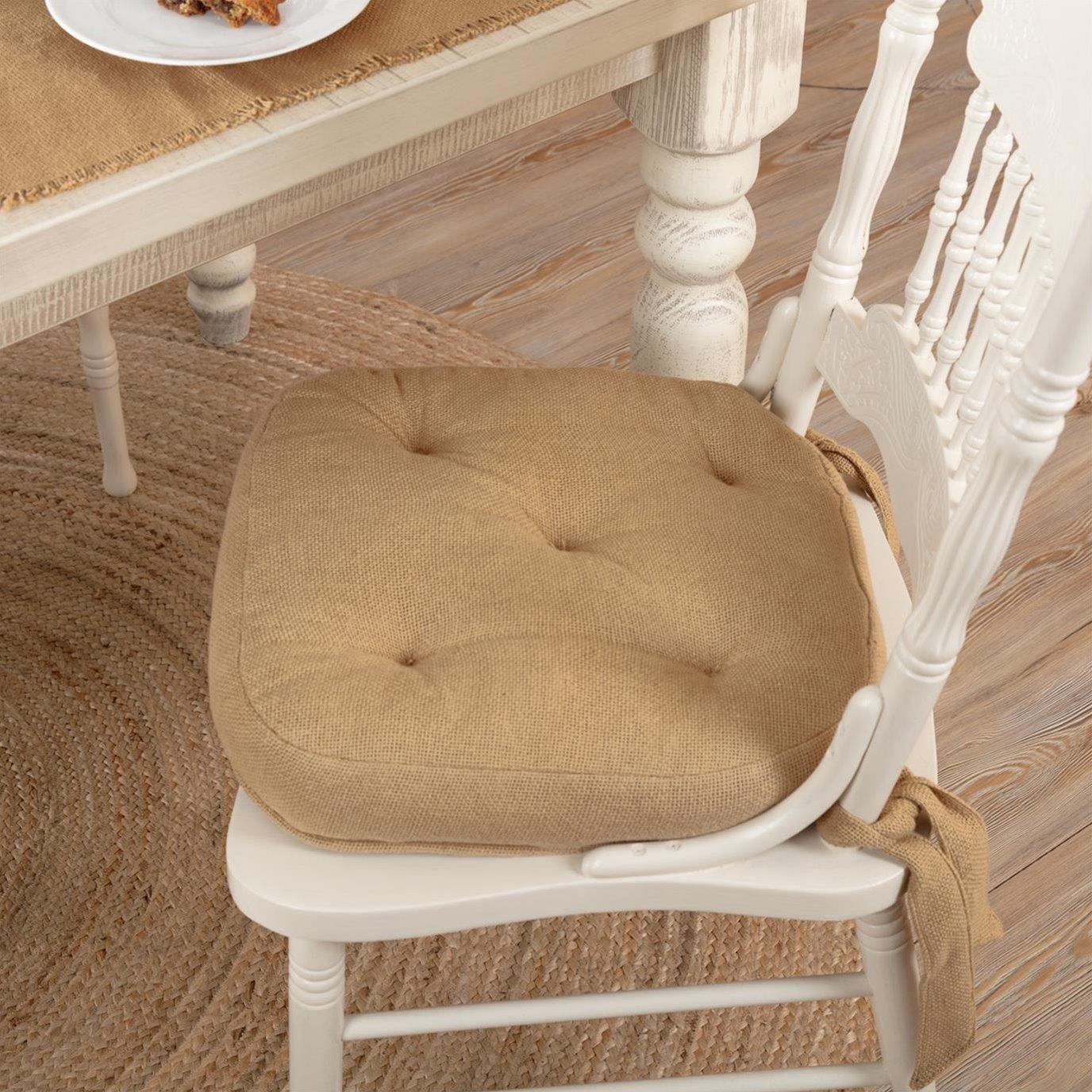 Burlap Natural Chair Pad