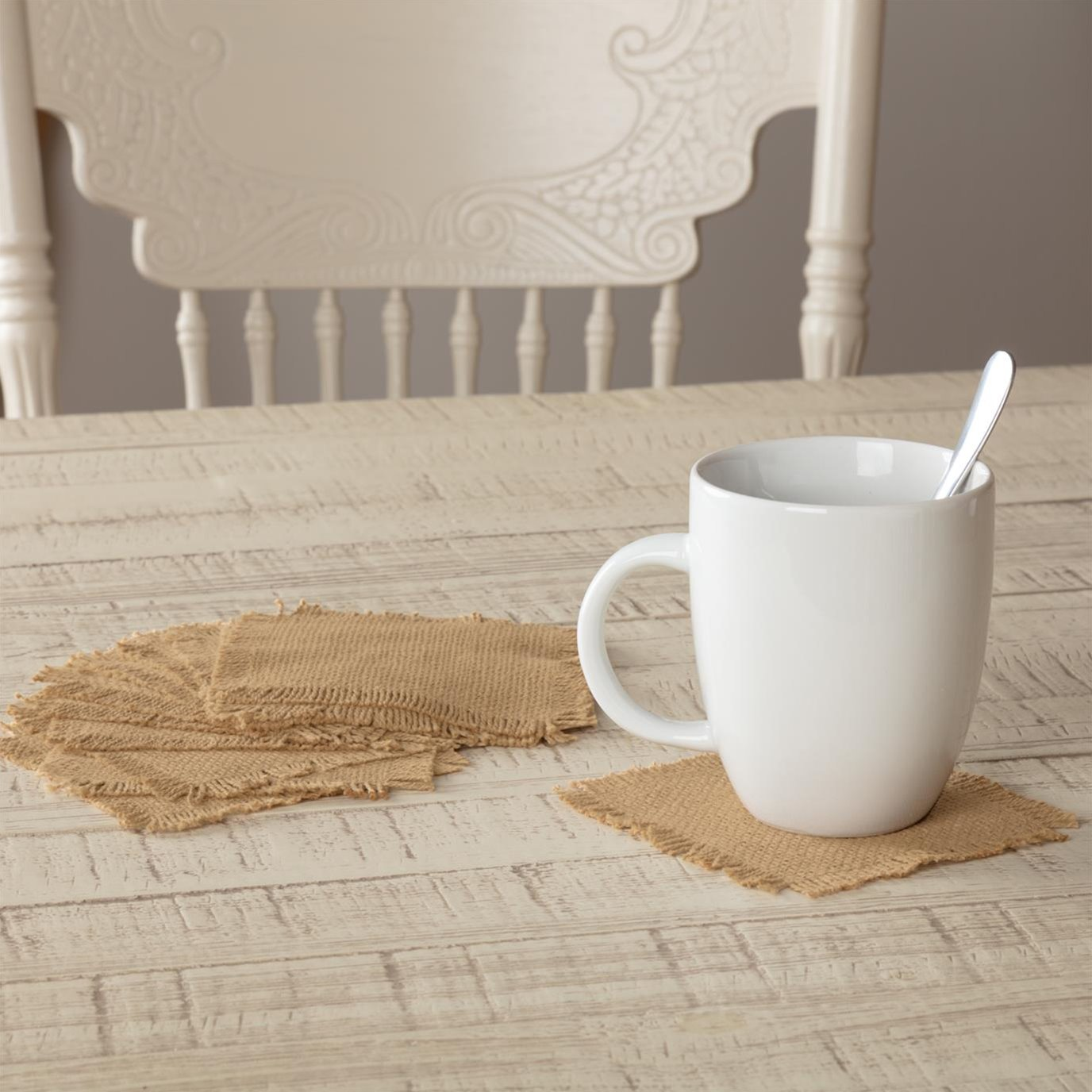 Burlap Natural Coaster Set of 12 Fringed 4x4