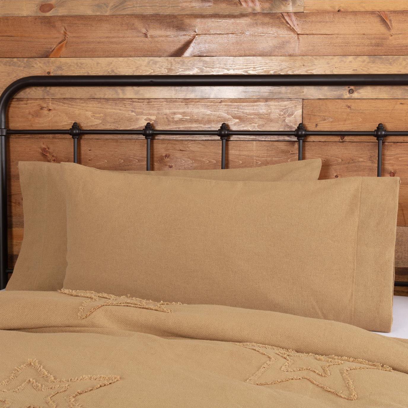 Burlap Natural King Pillow Case Set of 2 21x40