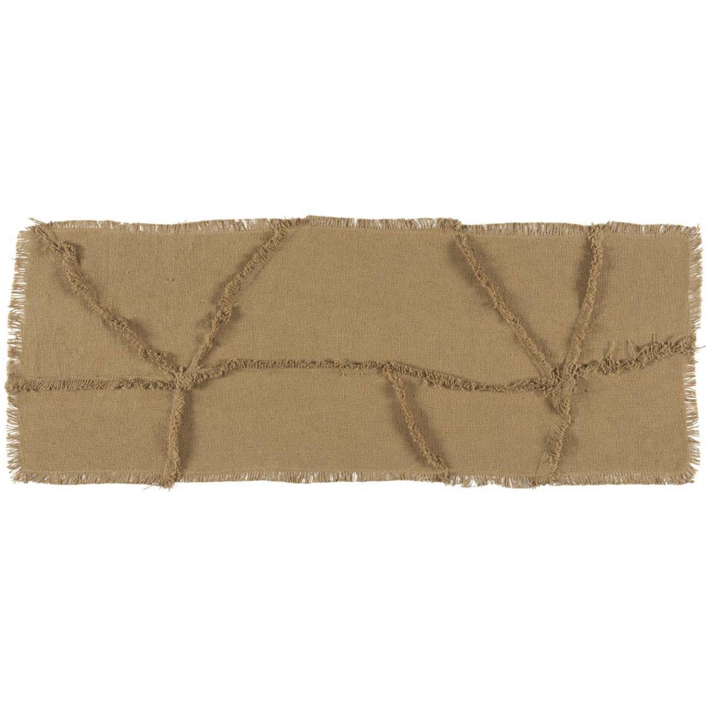 Burlap Natural Reverse Seam Patch Runner 13x36