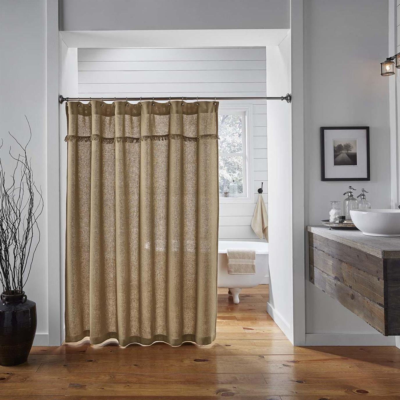 Burlap Natural Shower Curtain 72x72