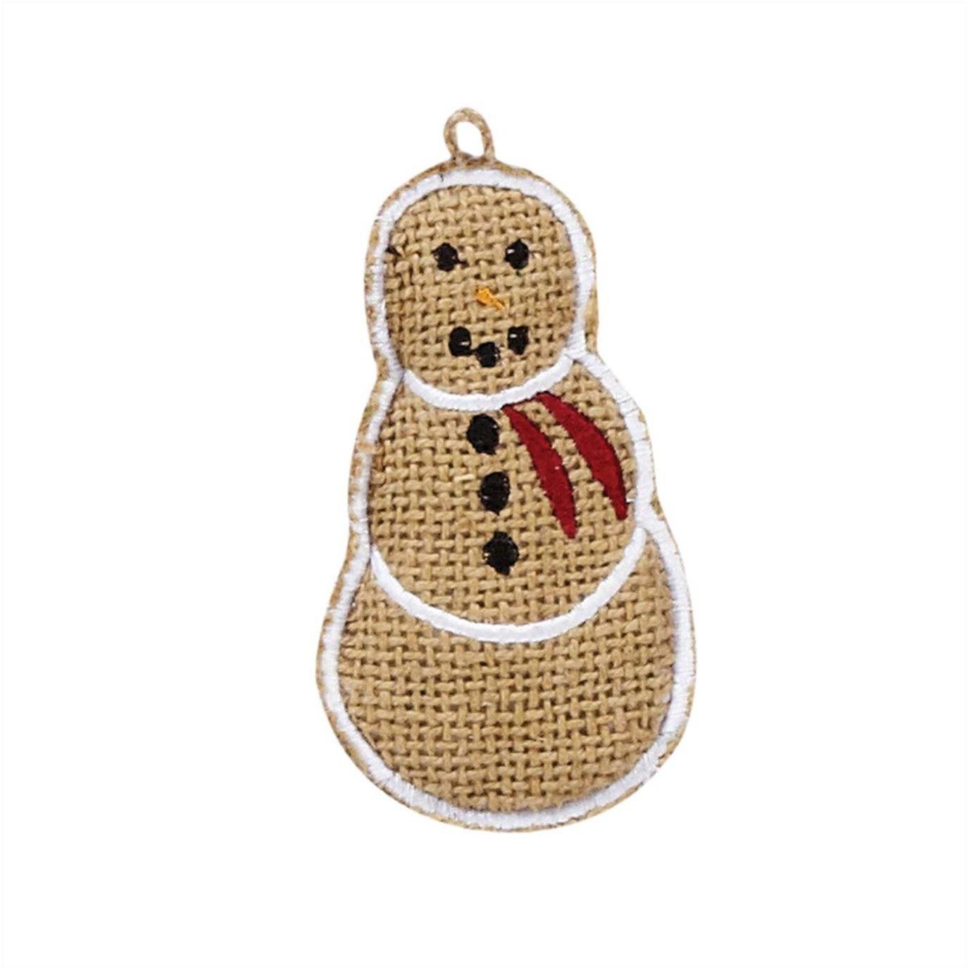 """Burlap Snowman 4"""" Ornament Set of 6"""