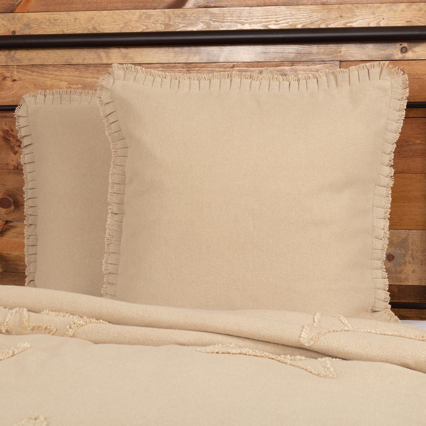 Burlap Vintage Fabric Euro Sham w/ Fringed Ruffle 26x26