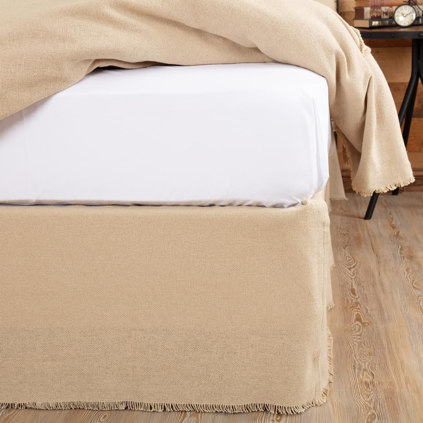 Burlap Vintage Fringed King Bed Skirt 78x80x16