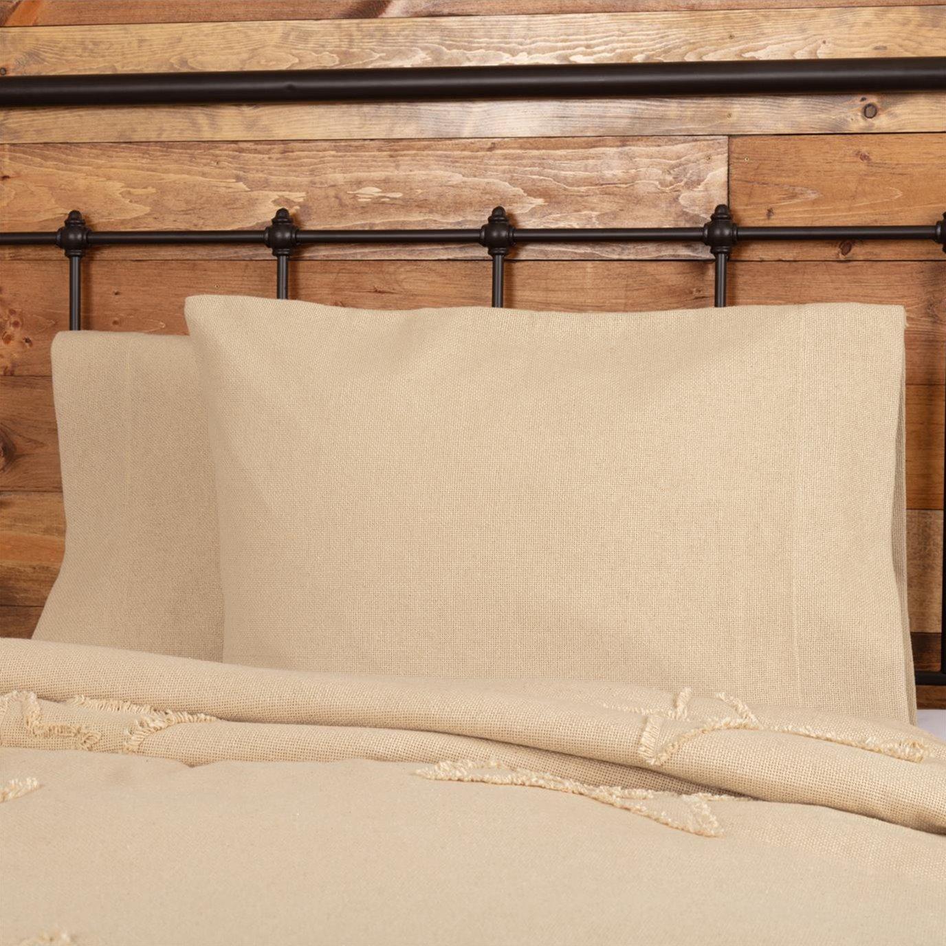 Burlap Vintage Standard Pillow Case Set of 2 21x30