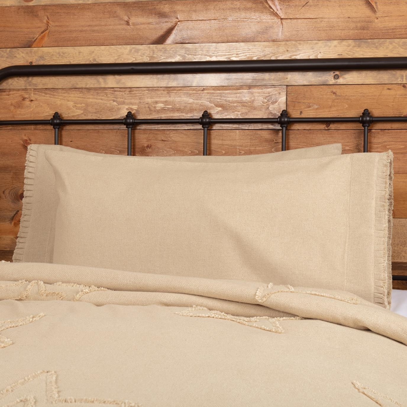 Burlap Vintage King Pillow Case w/ Fringed Ruffle Set of 2 21x40