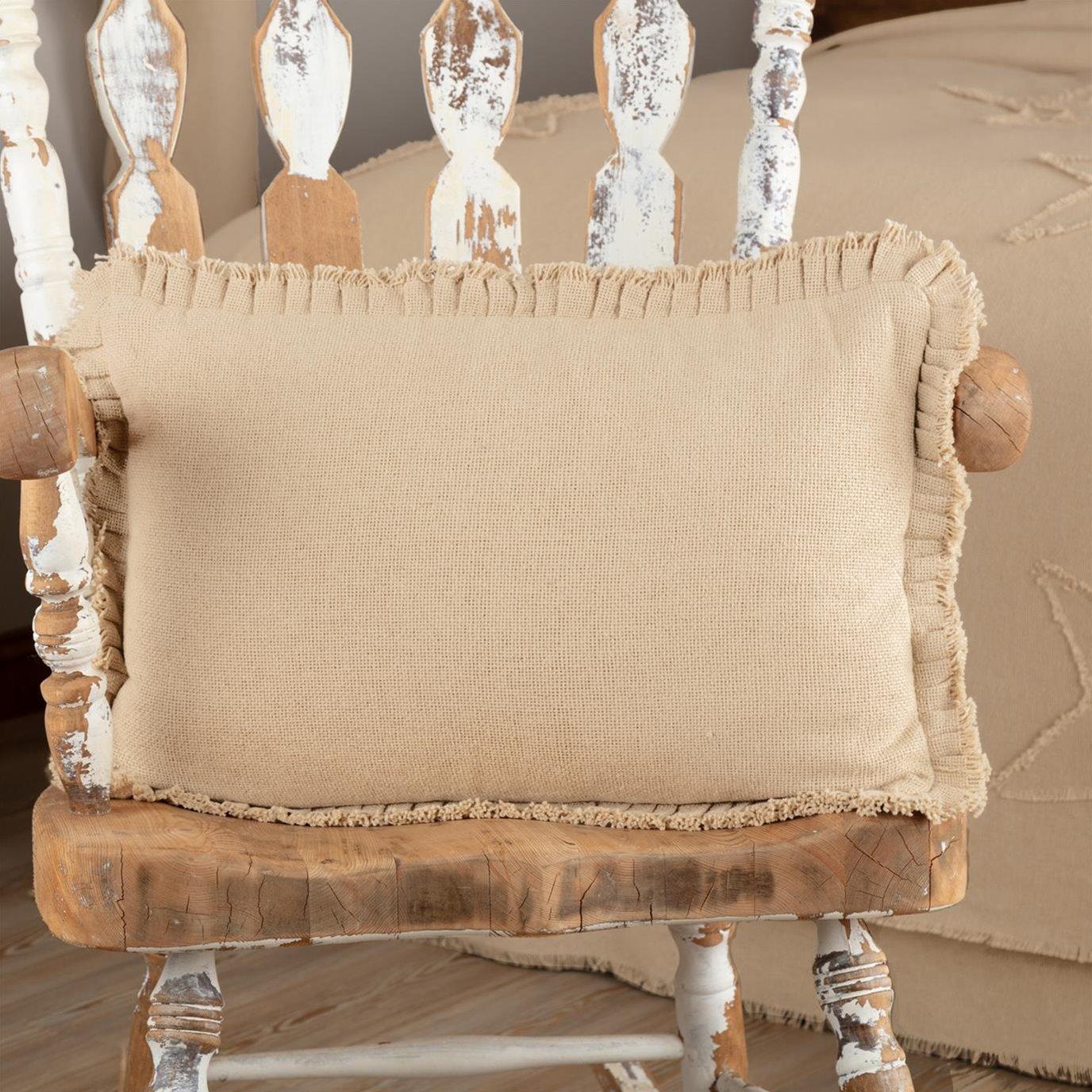 Burlap Vintage Pillow w/ Fringed Ruffle 14x22