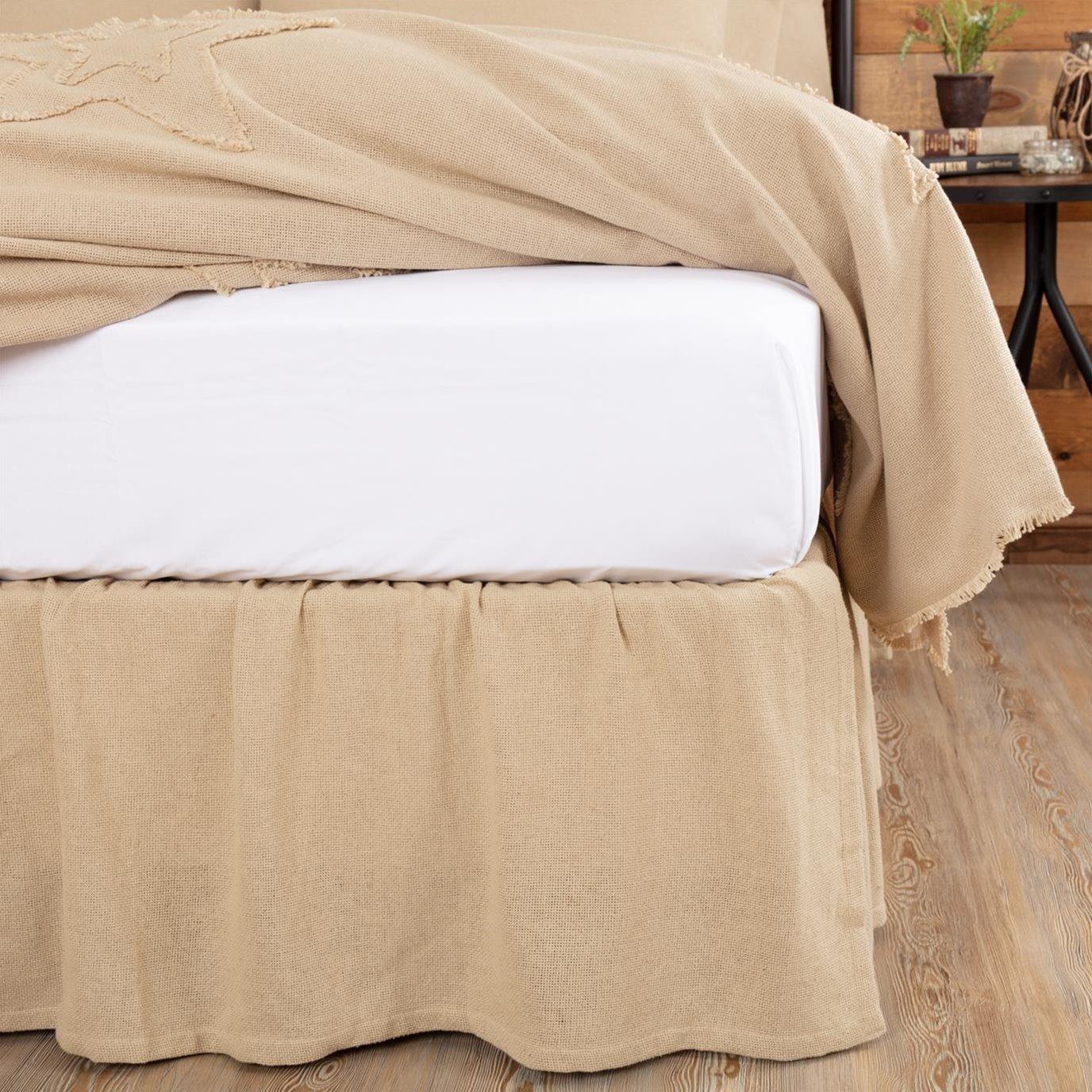 Burlap Vintage Ruffled Queen Bed Skirt 60x80x16