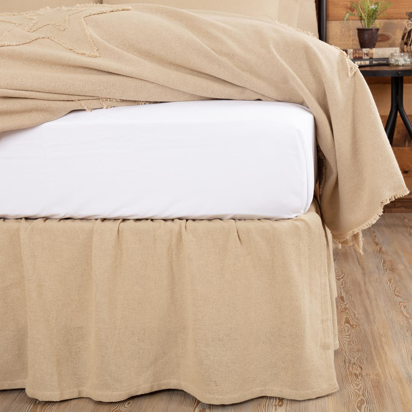 Burlap Vintage Ruffled Twin Bed Skirt 39x76x16