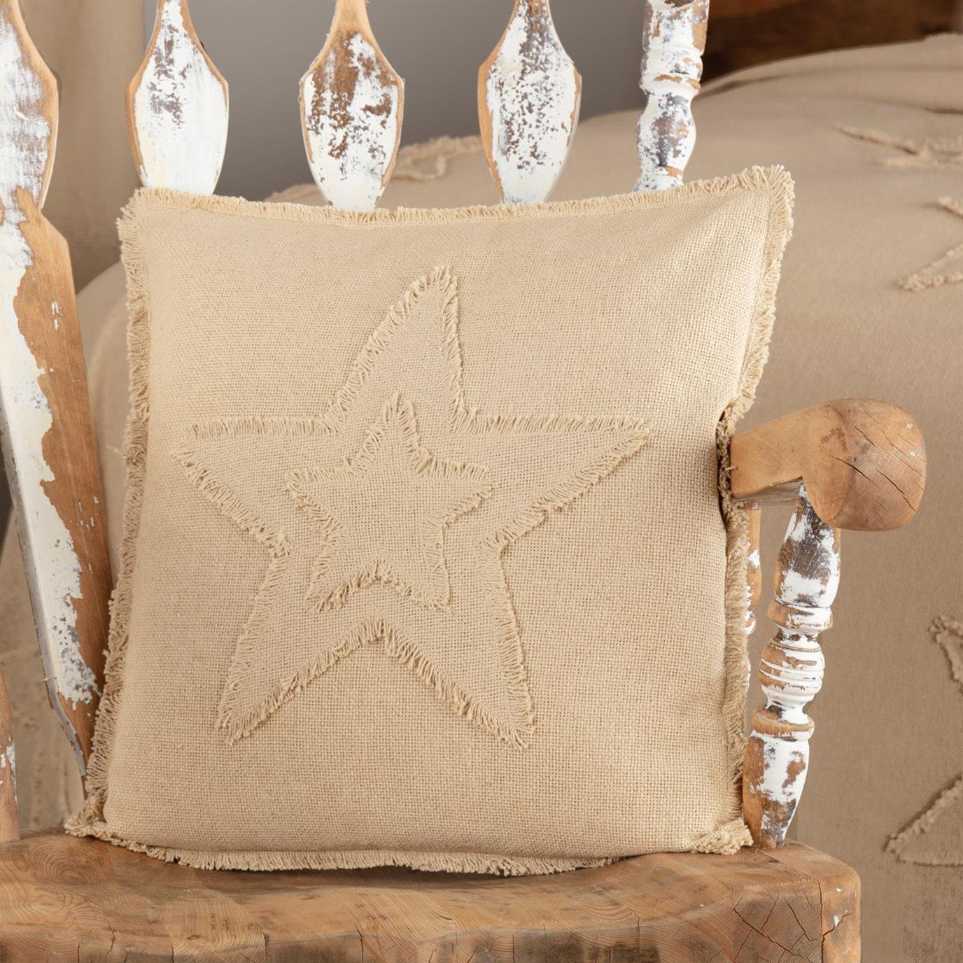 Burlap Vintage Star Pillow 18x18