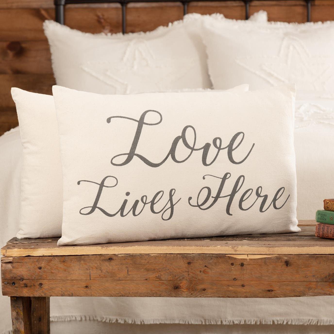 Casement Natural Love Lives Here Pillow 14x22