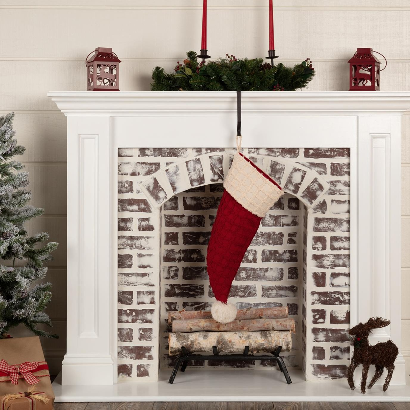 Chenille Christmas Santa Hat Stocking 9.5x20
