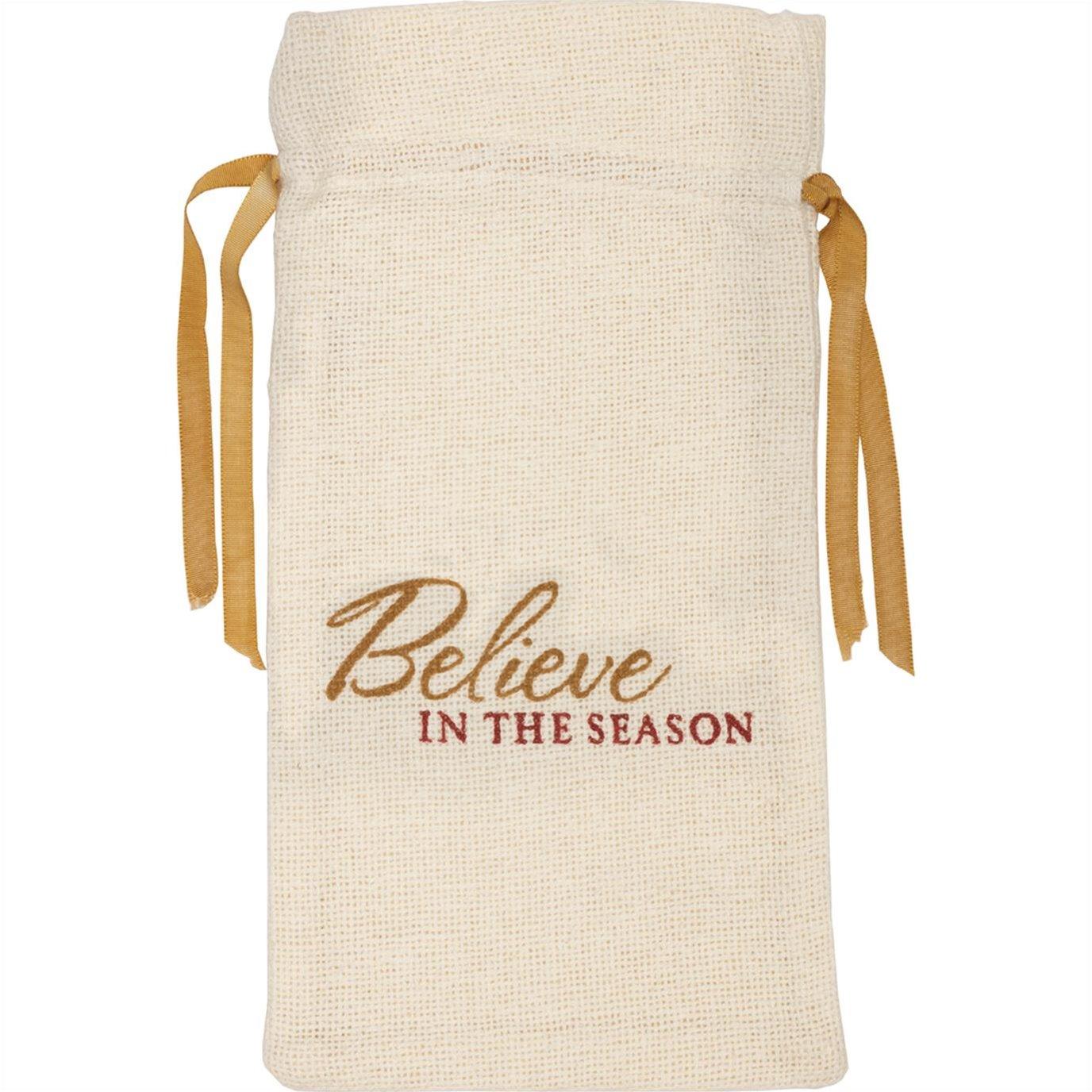 Creme Burlap Wine Bag Believe In The Season 13x6.5