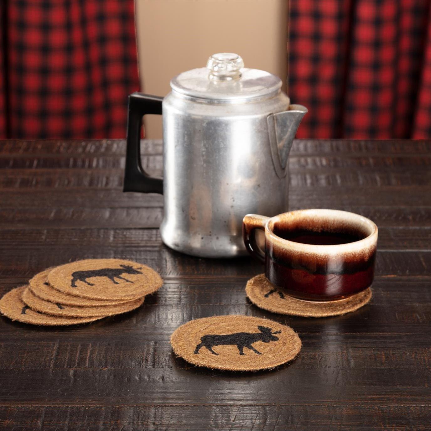 Cumberland Stenciled Moose Jute Coaster Set of 6