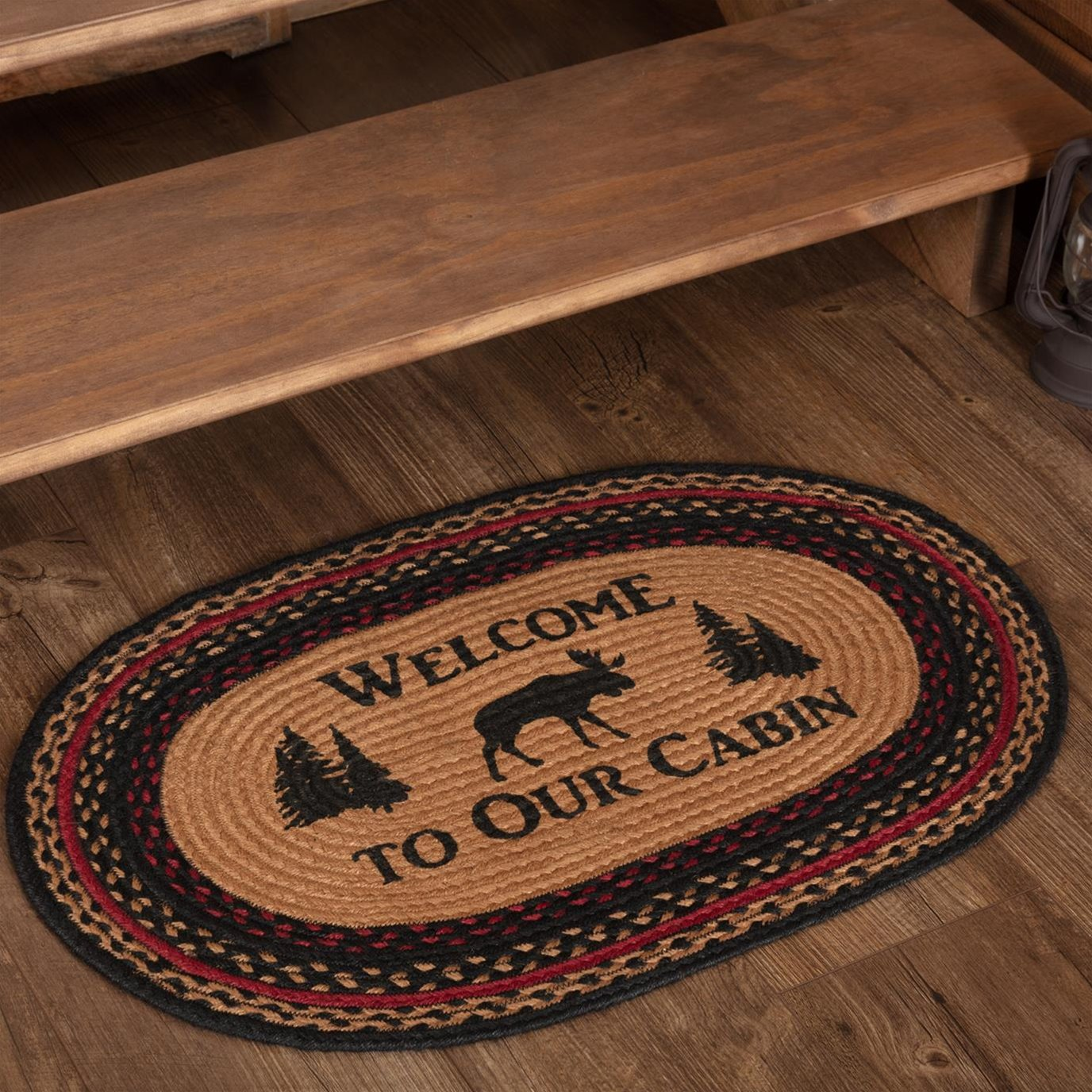 Cumberland Stenciled Moose Jute Rug Oval Welcome to the Cabin 20x30
