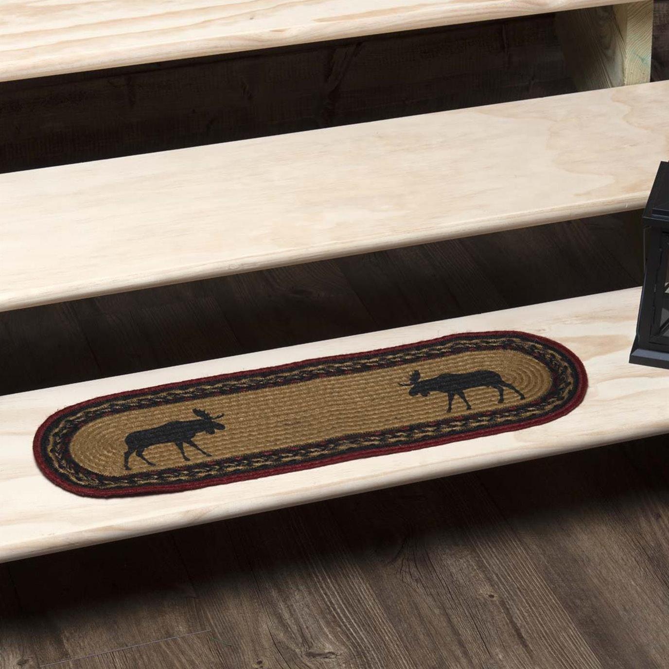 Cumberland Stenciled Moose Jute Stair Tread Oval Latex 8.5x27