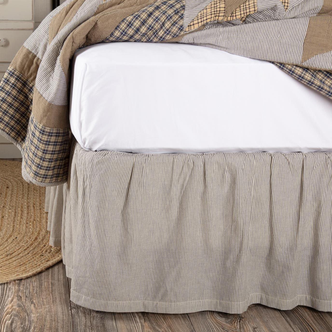 Dakota Star Farmhouse Blue Ticking Stripe Queen Bed Skirt 60x80x16