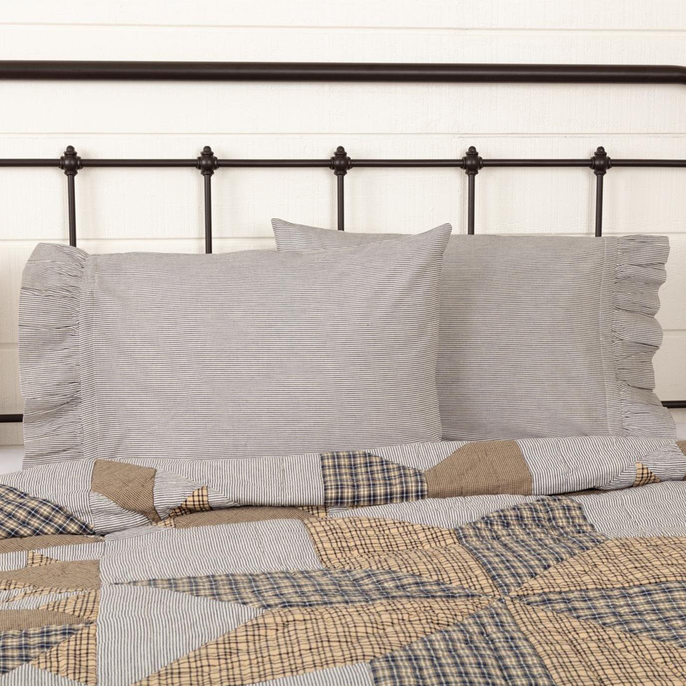 Dakota Star Farmhouse Blue Ticking Stripe Standard Pillow Case Set of 2 21x30