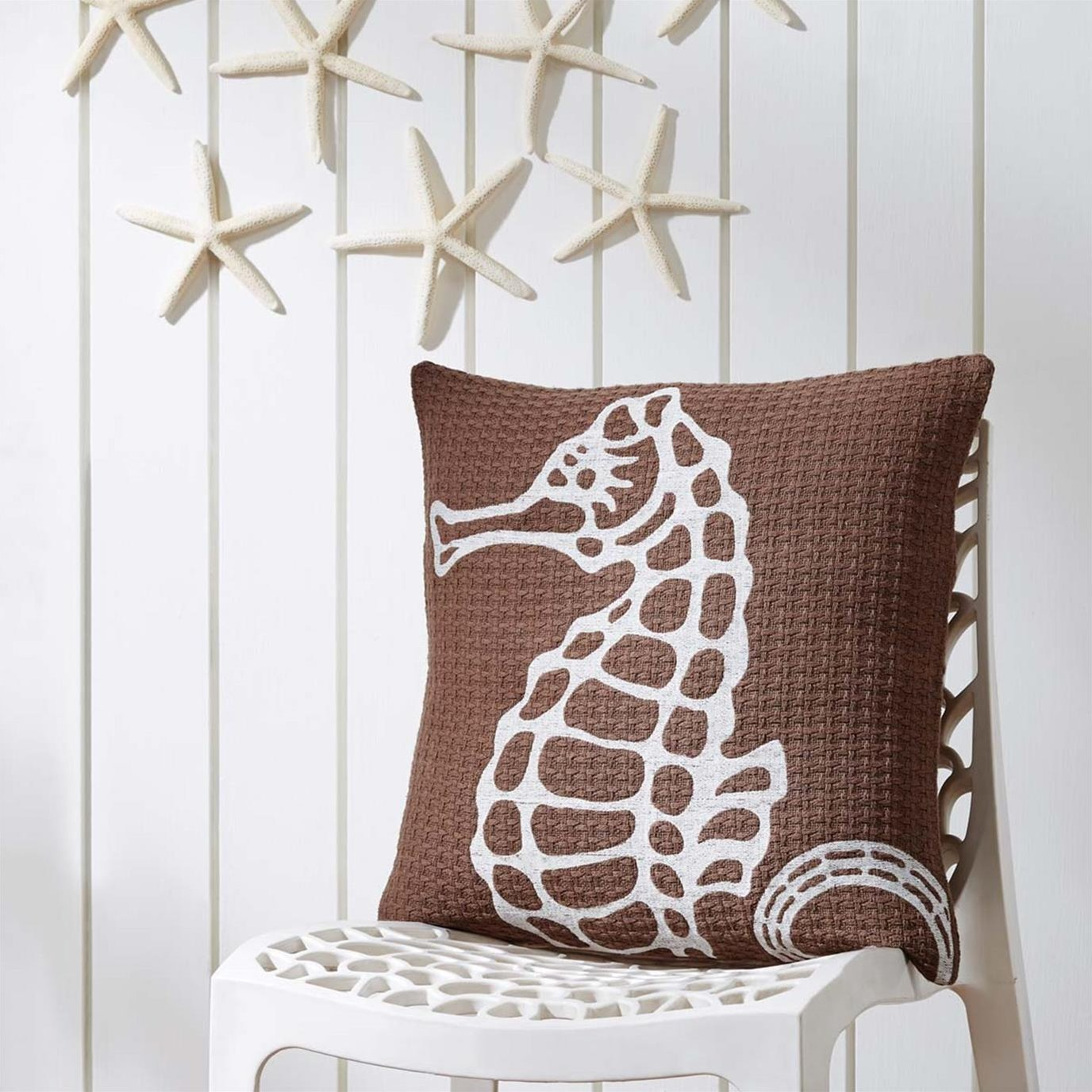 Embroidered Seahorse Pillow 18x18
