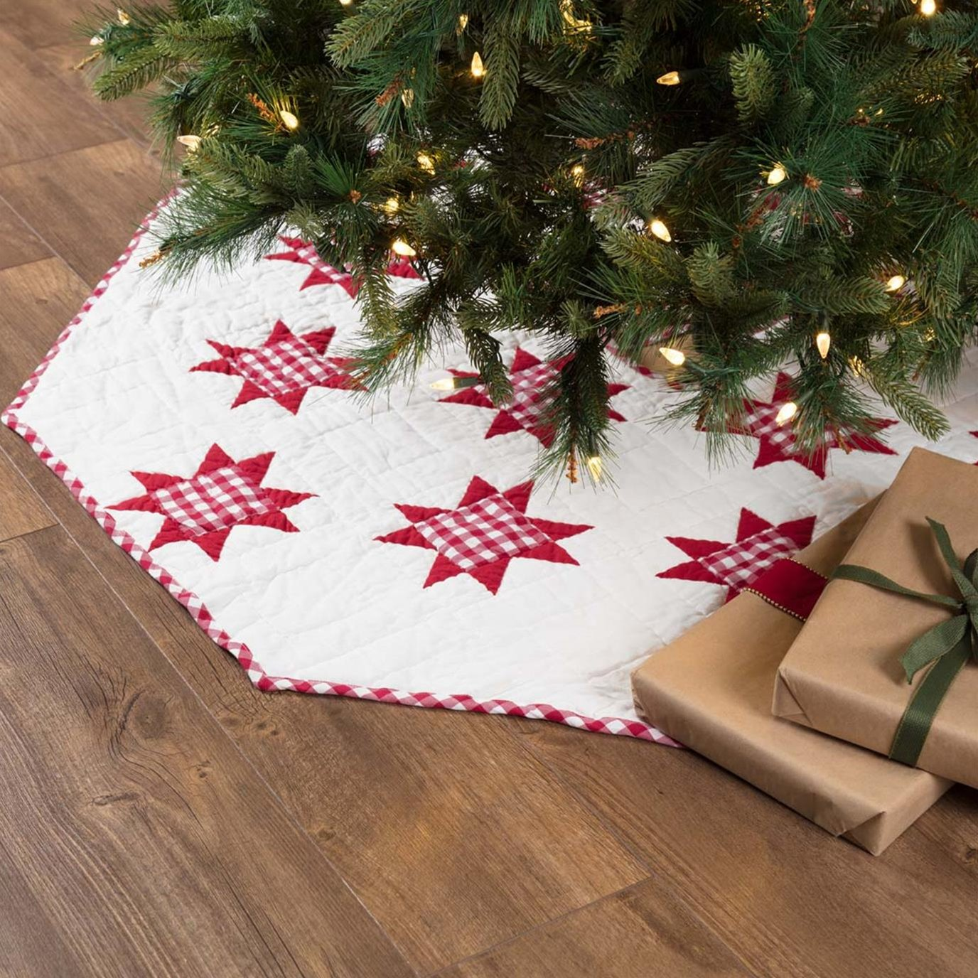 Emmie Red Patchwork Tree Skirt 55