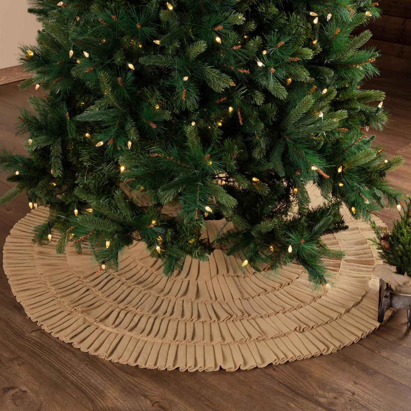 Festive Natural Burlap Ruffled Tree Skirt 55
