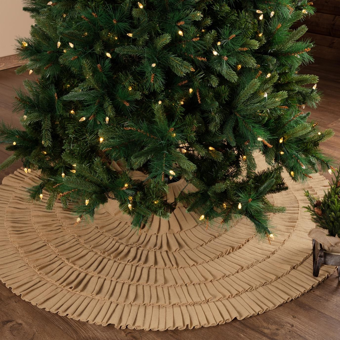 Festive Natural Burlap Ruffled Tree Skirt 60