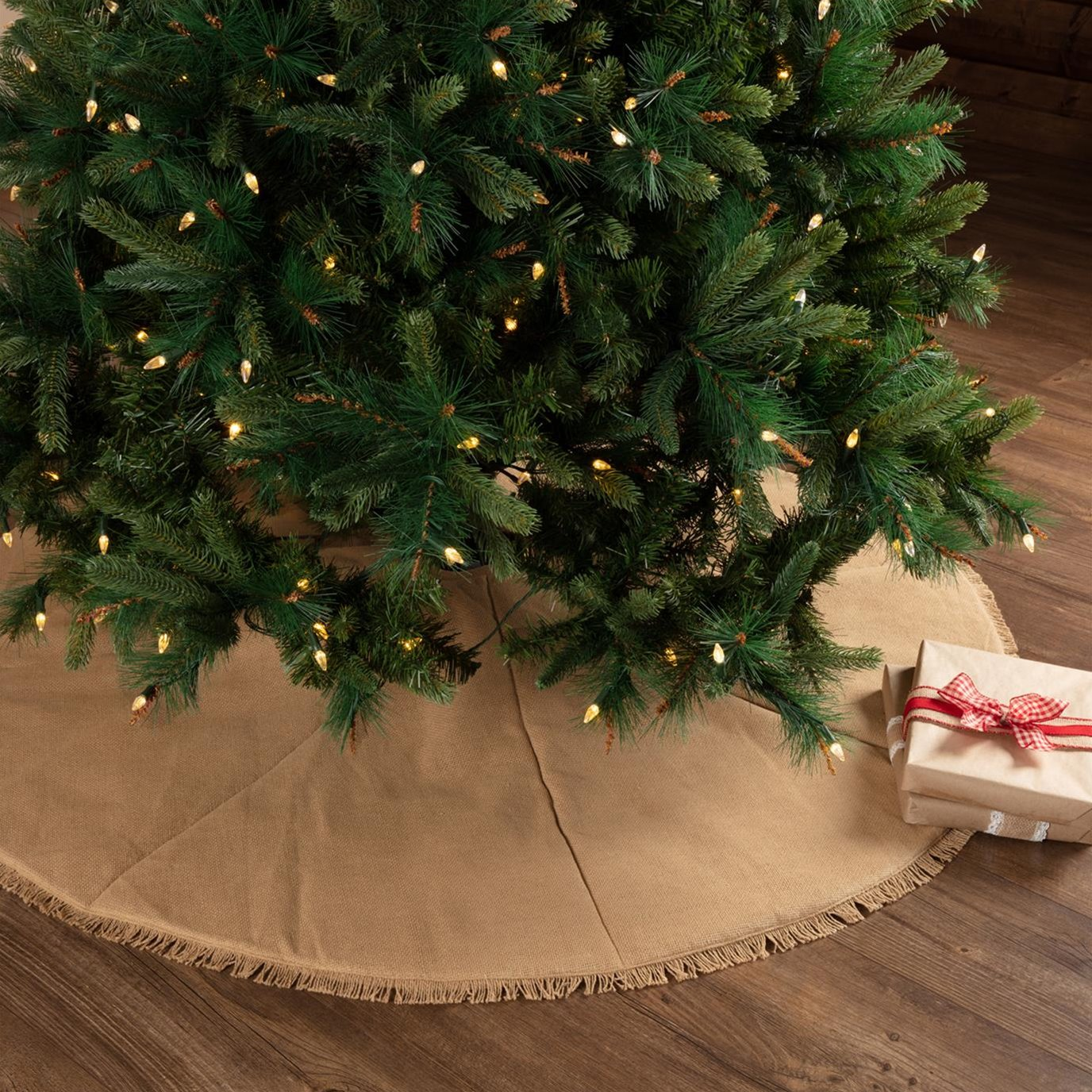 Festive Natural Burlap Tree Skirt 55
