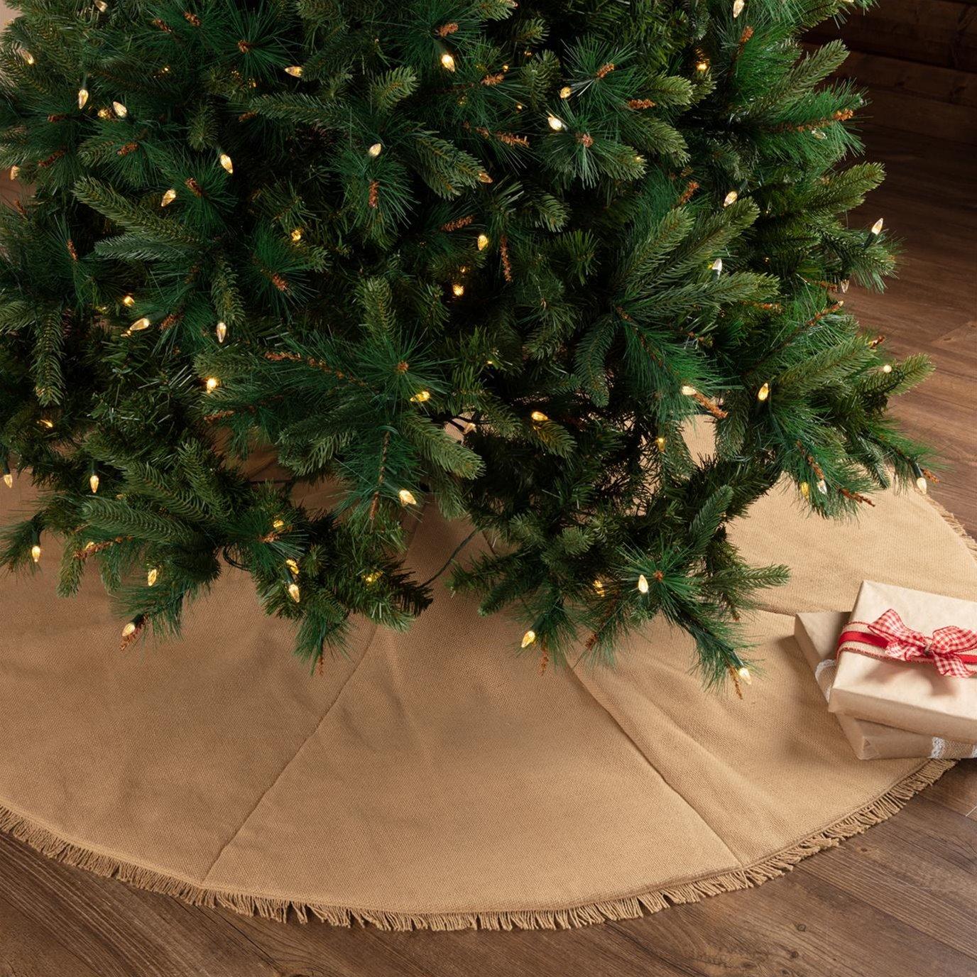 Festive Natural Burlap Tree Skirt 60